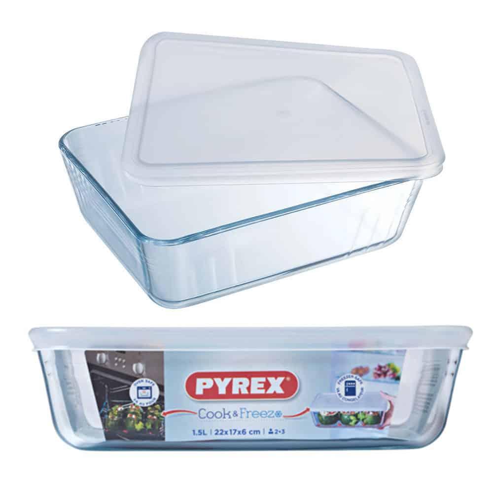 PYREX COOK & FREEZE RECTANGULAR DISH WITH WHITE LID 4L 244P000/6146