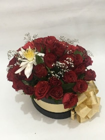 Oval shape box with red roses