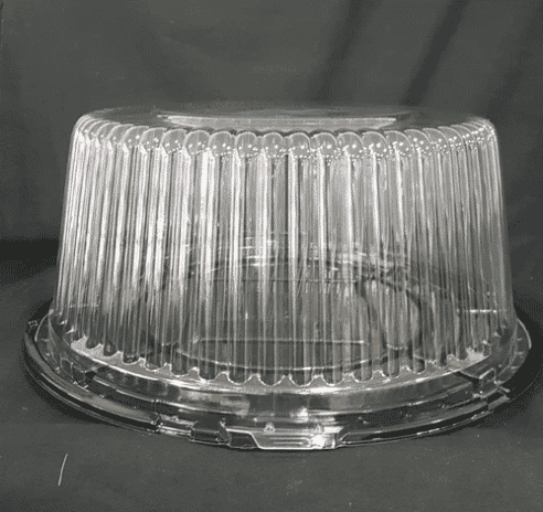 Black base cake container 10″