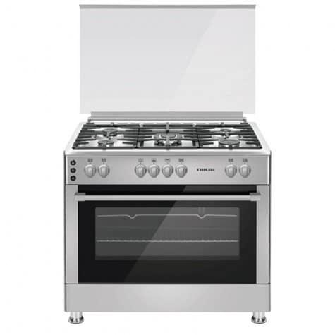 Nikai Cooker 90×60 Full Gas 5 Gas Burner Glass Lid SS Inox Sides U9066FS