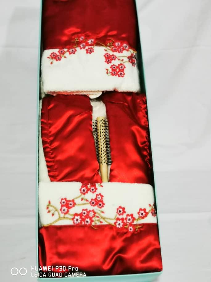 Ladies Bath robe set – Red Color – Design 2