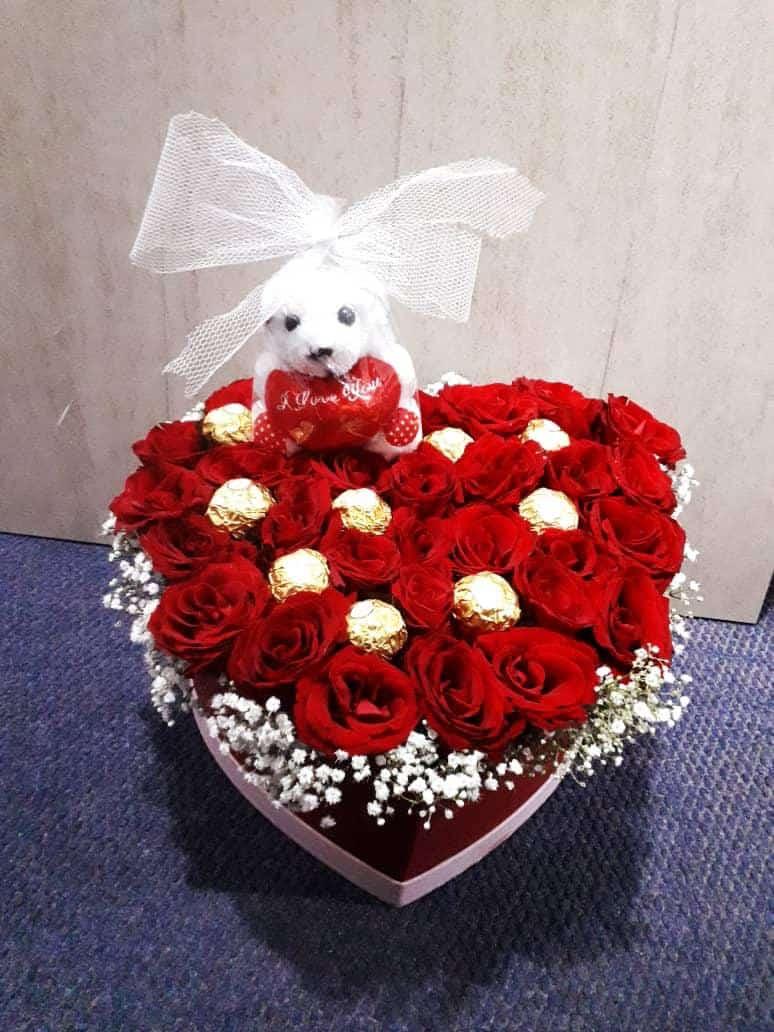 Ferrero rose box with teddy arrangement