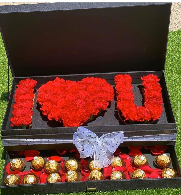 I LOVE YOU Flower Box With Drawer