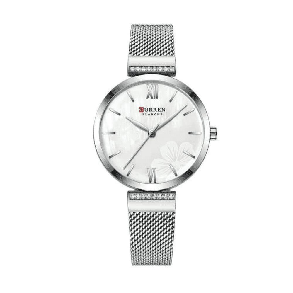 Curren Simple Fashion Wristwatch Stainless Steel Bracelet -Silver