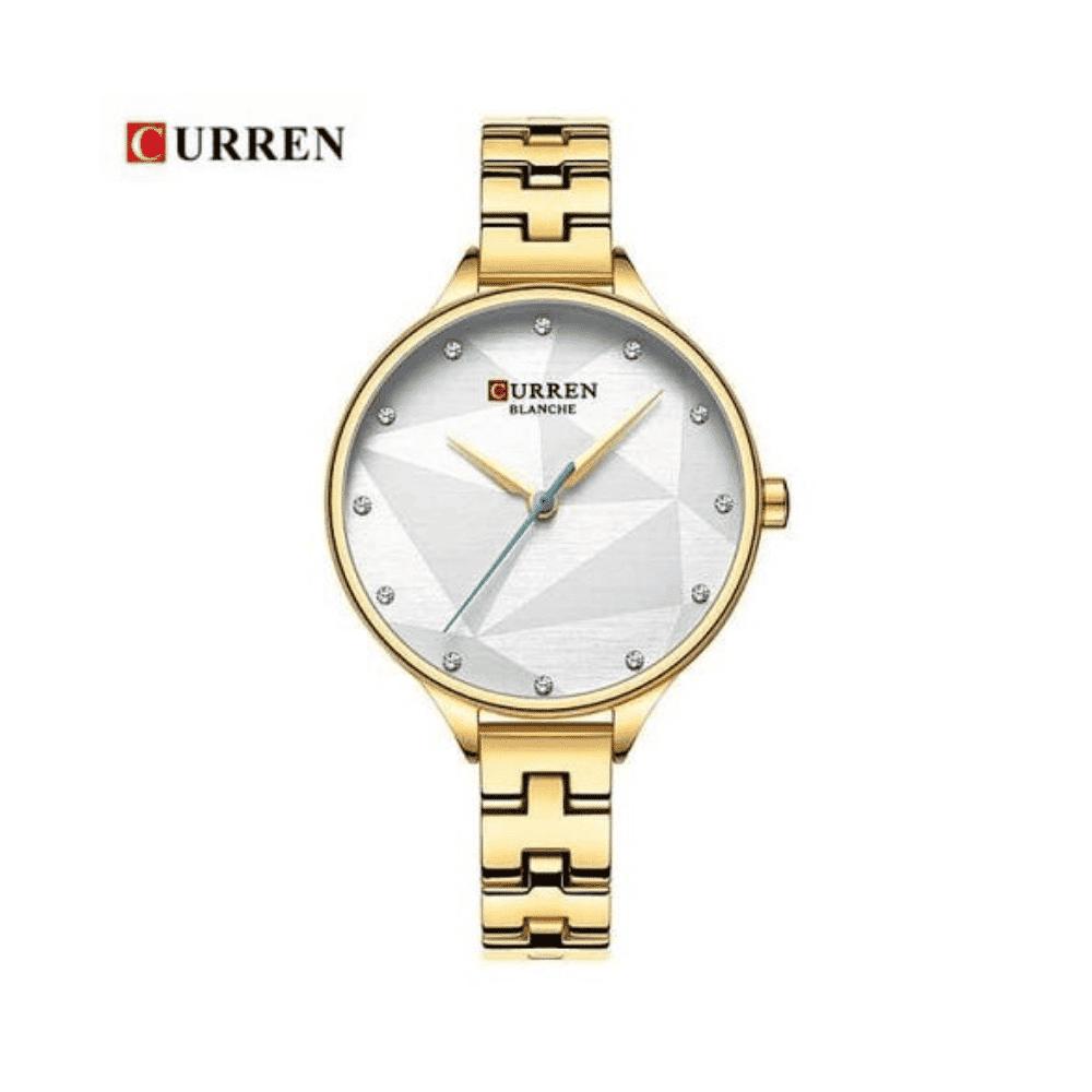 Curren Simple Fashion Wristwatch Stainless Steel Bracelet -Gold