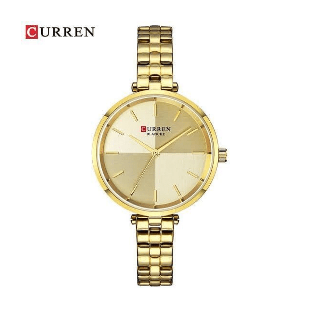 Curren New Fashion Women's Watch- Gold