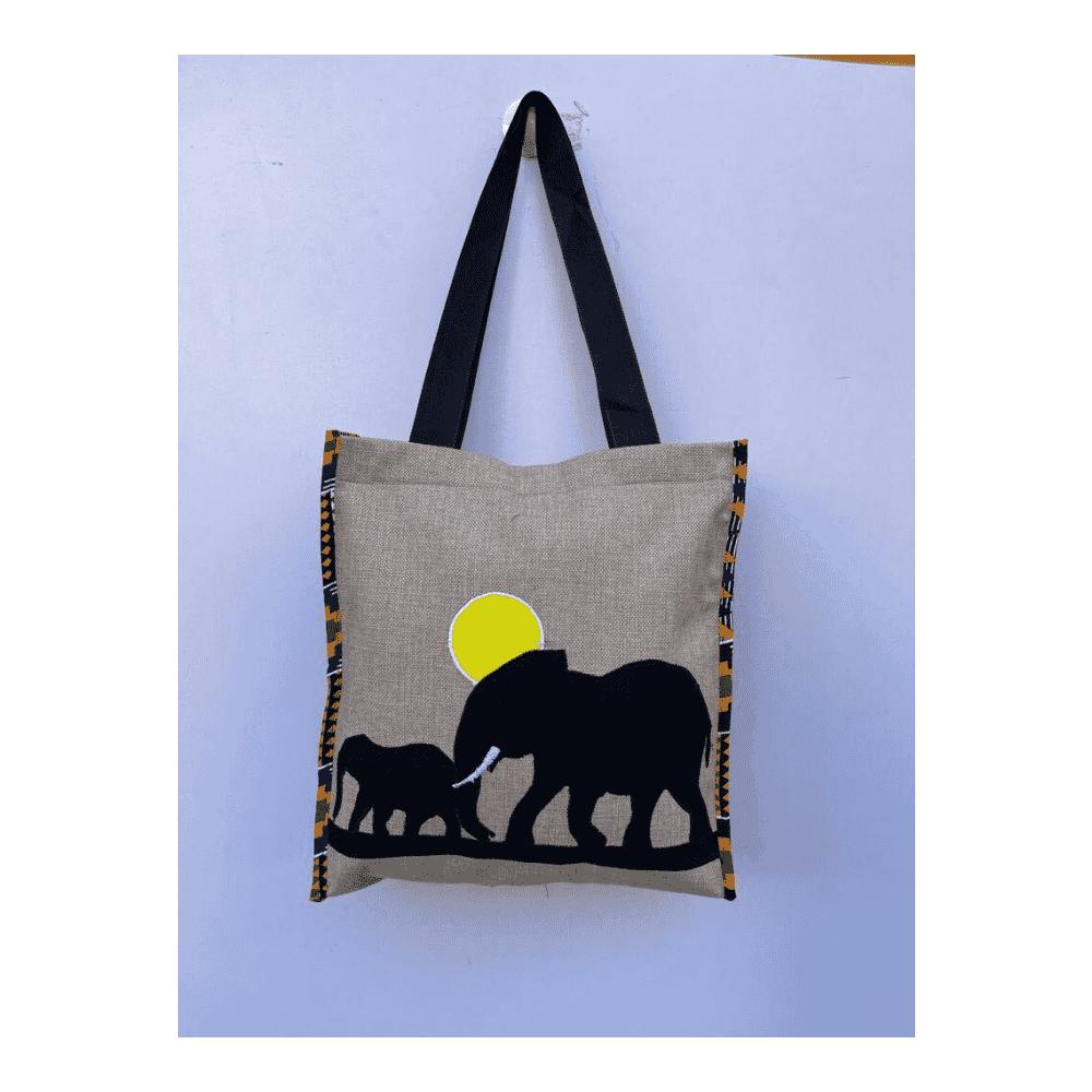 African Hand Bag Elephant Printed Design