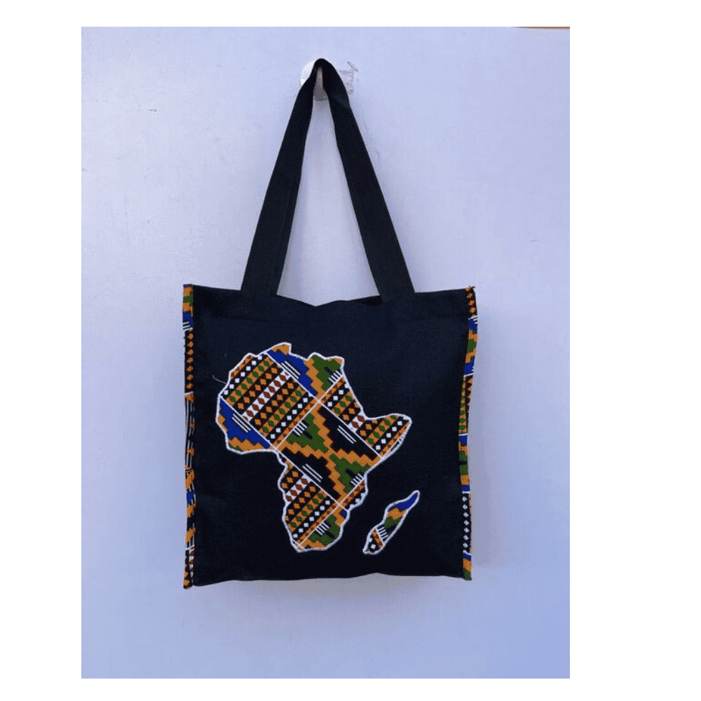 African Design Hand Bag With Africa Map Printed