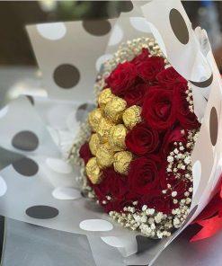 polka ferrero 247x296 - Red Rose Bouquet with Ferrero Rocher