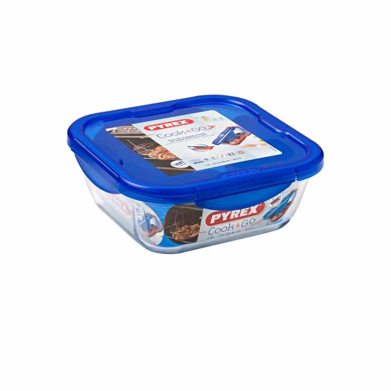 PYREX COOK & GO SQUARE DISH WITH LID 21CM 286PG00/7046