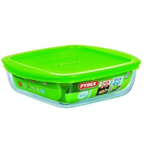 PYREX COOK & STORE SQUARE DISH WITH LID 1L 20 CM 211P000/6146