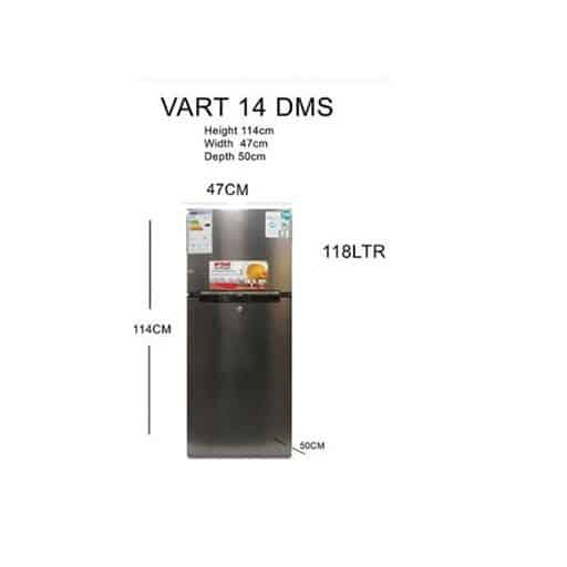 Von VART-14DMS Double Door Refrigerator – Dark Silver Color
